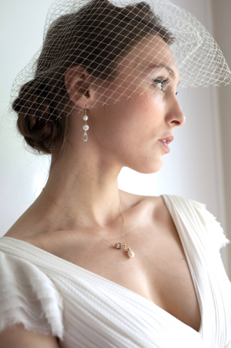 Birdcage, Ivory and Opal Swarovski Moonstone Birdcage, Fascinator