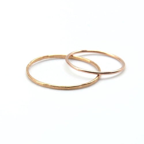14k Rose Gold Fill Ring, lightly hammered 14k gold filled stacking ring