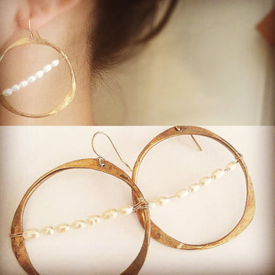 Parisian Hoop with Pearl Earrings