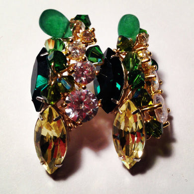 Cluster Stud Earrings - Dynasty Emerald