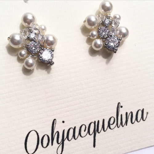 Shannon Tiny Pearl and Diamond Studs