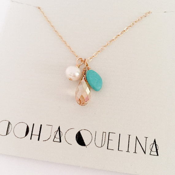 Turquoise Pearl and Swarovski Bauble Necklace