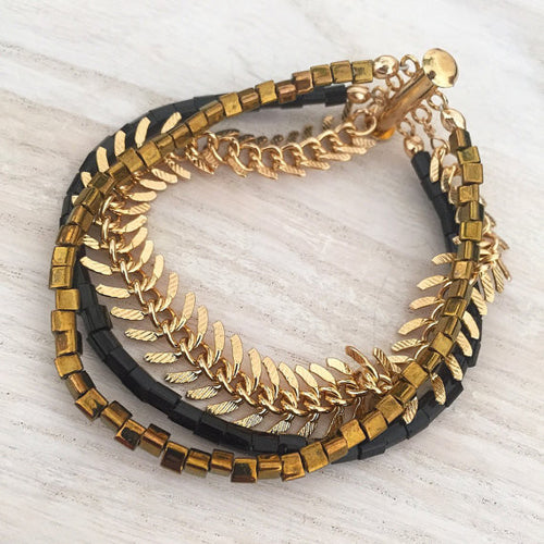 Fishbone Gold and Black Three Strand Rocker Bracelet