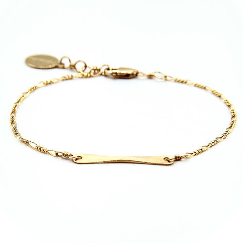 Handlebar Bracelet in 14k gold Fill or Sterling Silver, hand hammered non-tarnish hypoallergenic jewelry