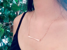 Handlebar Necklace in gold Fill or Argentium Sterling silver, hand hammered bar necklace, hypoallergenic jewelry