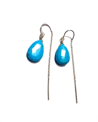 Turquoise thread Earrings, sterling silver or 14k gold fillhypoallergenic jewelry