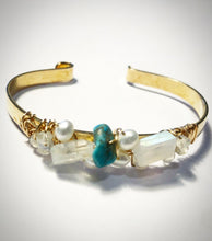 Turquoise moonstone and pearl Brass Cuff bracelet