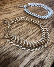 Zipper Bracelet in Silver or Gold fishbone bracelet