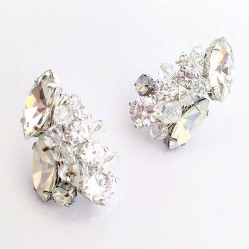 Ice Cluster Stud Earrings in Moonstone and Opal