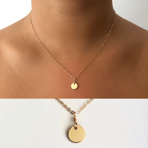 Mini Disk Circle Charm Necklace in 14k Gold fill, hypoallergenic jewelry