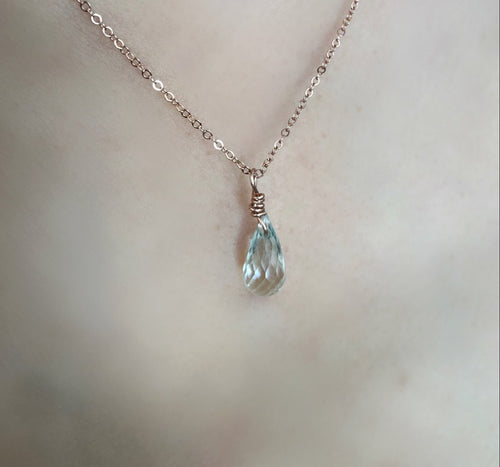 Aquamarine Green Amethyst dainty necklace, non-tarnish hypoallergenic jewelry in rose gold, Sterling silver or 14k yellow gold