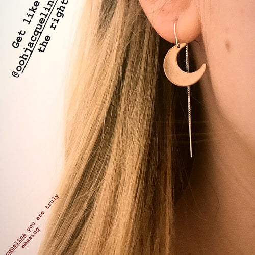 New Moon Goddess Earrings, moon thread Earrings, rose Gold moons, Gold moon, crescent moons