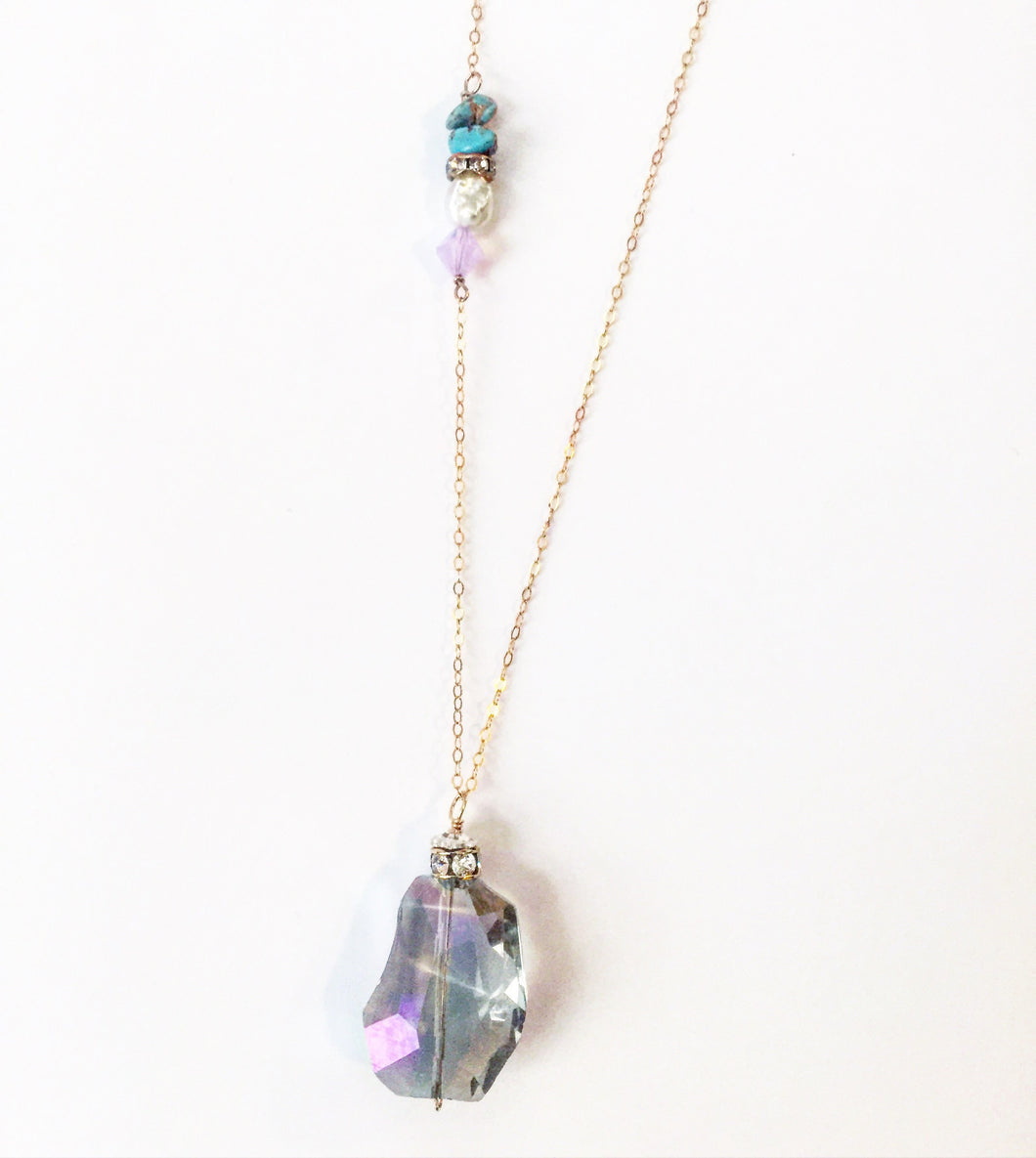 Evelyn long crystal necklace