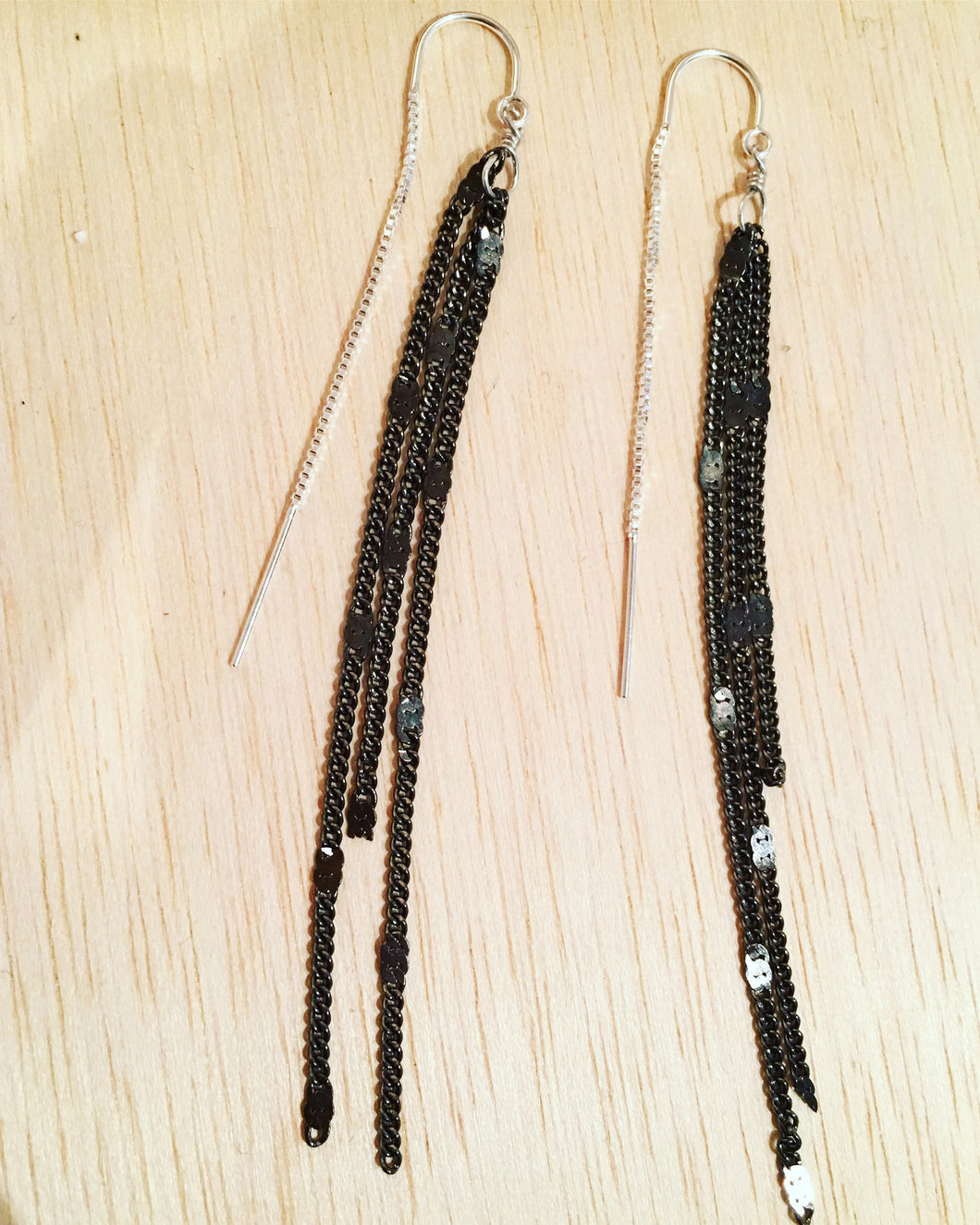 Oxidized silver thread earrings w Sterling ear thread