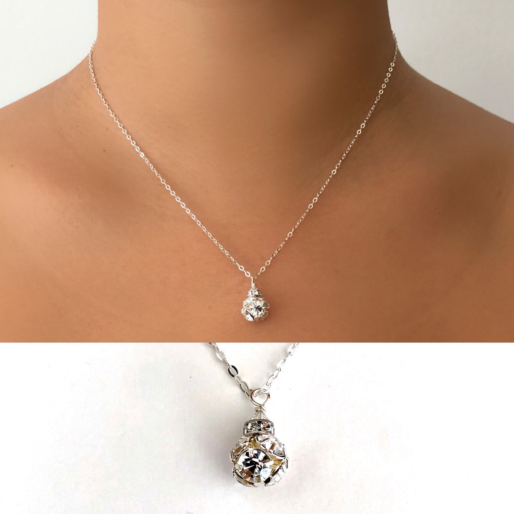 Crystal Ball Necklace Sterling Silver Swarovski Rhinestone Necklace