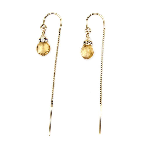 Citrine threader Earrings