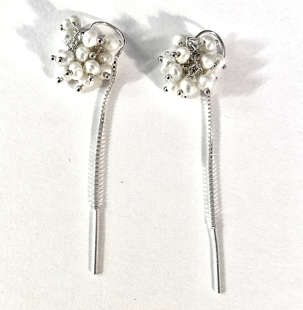 Pearl Cluster Threader Earrings, hypoallergenic jewelry sterling silver