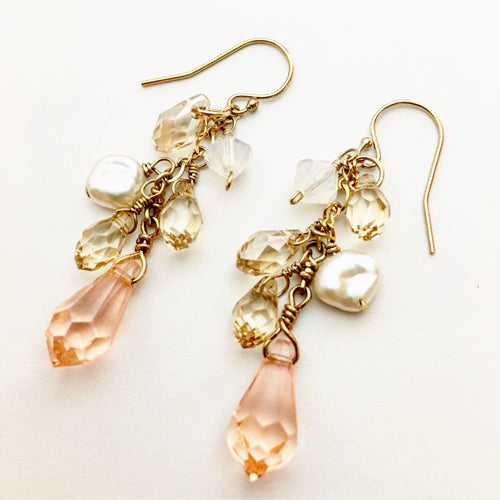 7. Peach Crystal Earrings