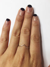 Chevron ring Sterling silver stacking ring