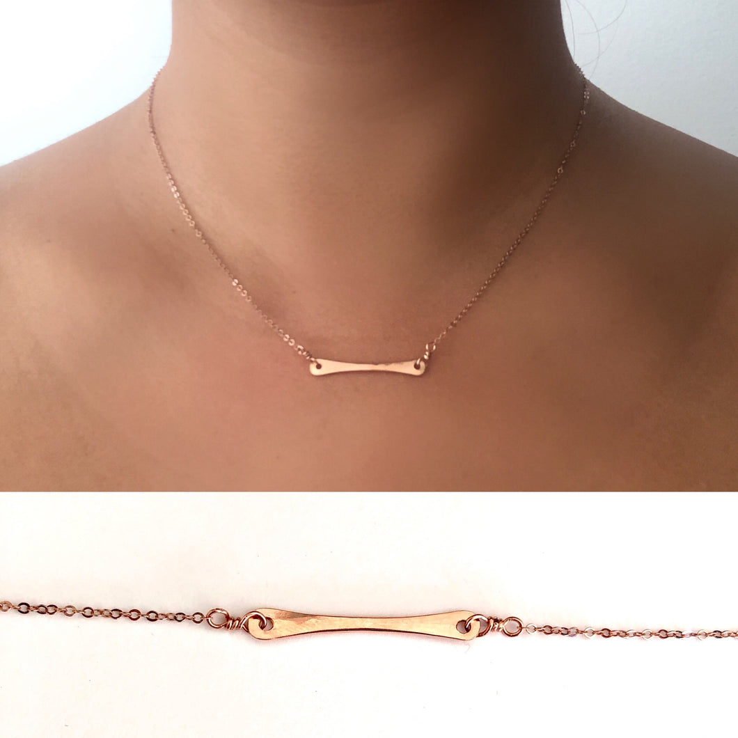 Mini Handlebar Bar Necklace in 14K Gold Fill, Sterling Silver, or Rose Gold, hypoallergenic jewelry