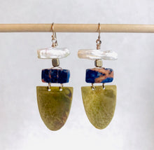 Navy Soladite Queen of Cups with Fresh Water Pearl Earring