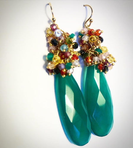 Adventurine Long Green Festival earrings