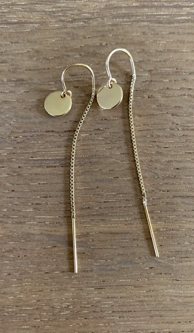 Mini Gold Disc Thread Earrings