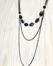 Dark Layers Necklace, long necklace labradorite