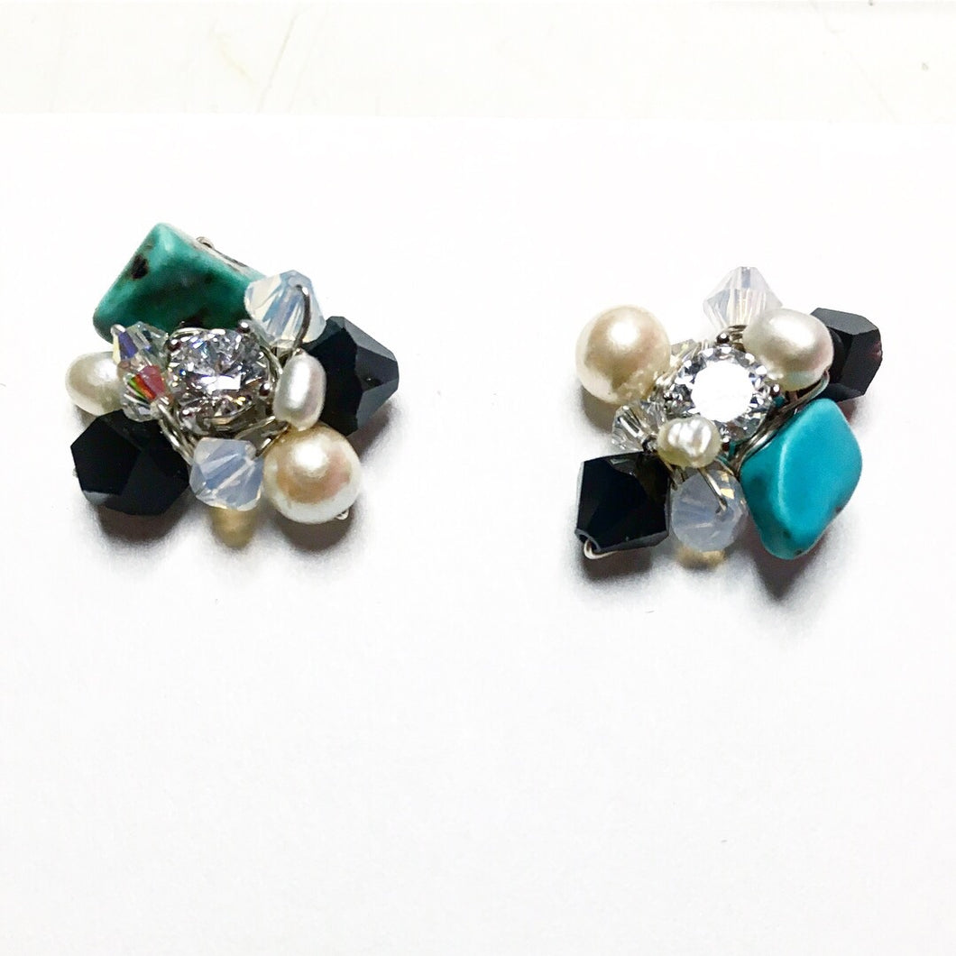 Turquoise and Black Cluster Earrings