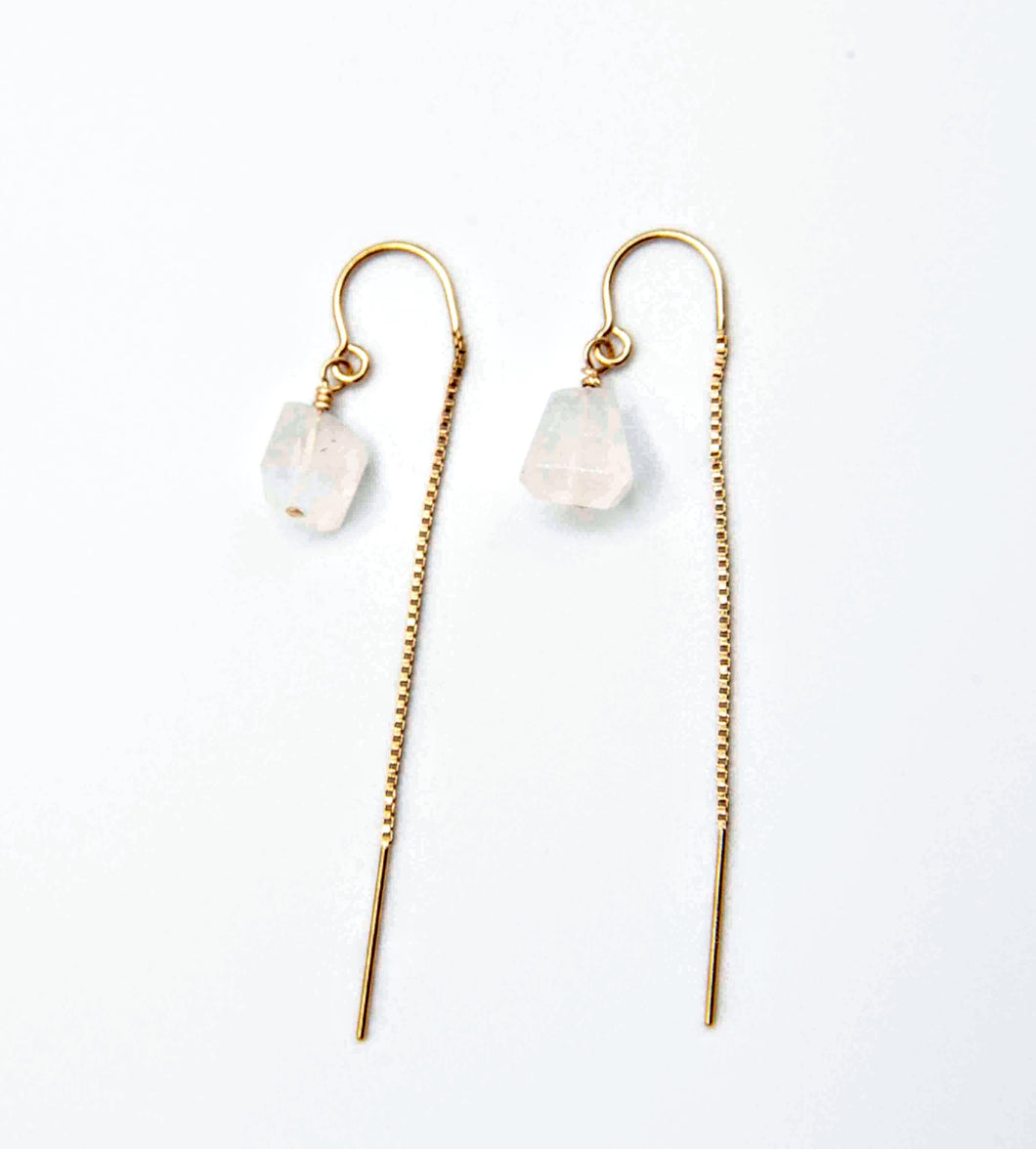 Moonstone Thread Earrings, sterling silver or 14k Gold fill, hypoallergenic jewelry