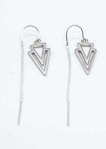 Rocker Triangle thread earrings in pure Sterling Silver. Versatile, non tarnish, hypoallergenic and cool!