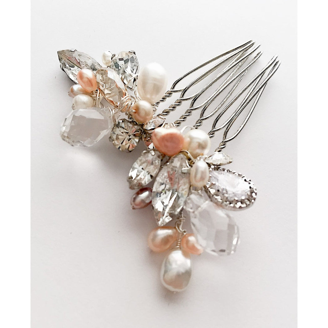 The Rebecca Rose Bridal Hair Comb, silver pearl rhinestone champagne crystal bridal comb, bridal hair accessory