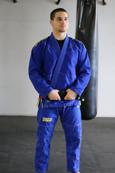 Male Cut Blue and Yellow Comp Gi