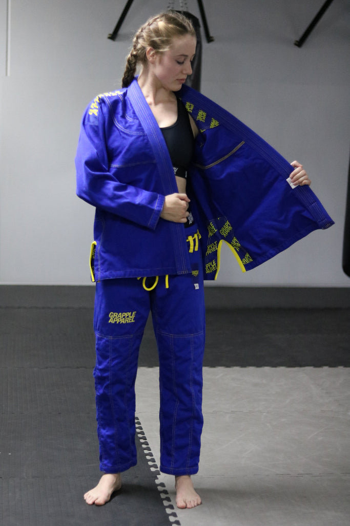 Female Cut Blue and Yellow Comp Gi