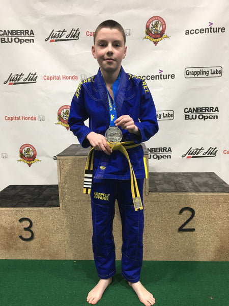 Kids BJJ Blue and Yellow Comp Gi (Free White Belt Included)