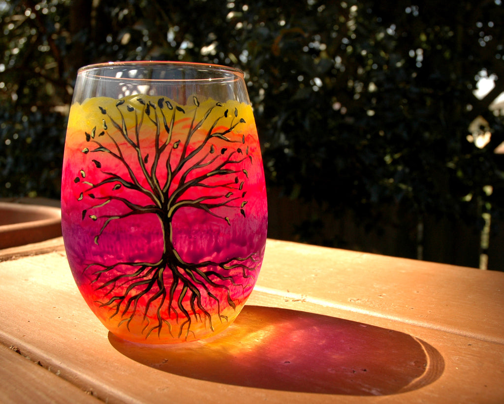 Hand Painted Tree of Life Glassware