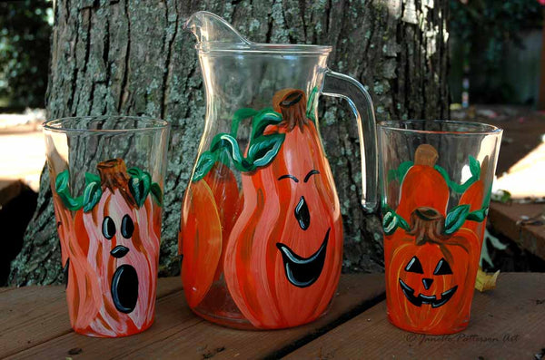 3 Pumpkins Pitcher - Janelle Patterson Art