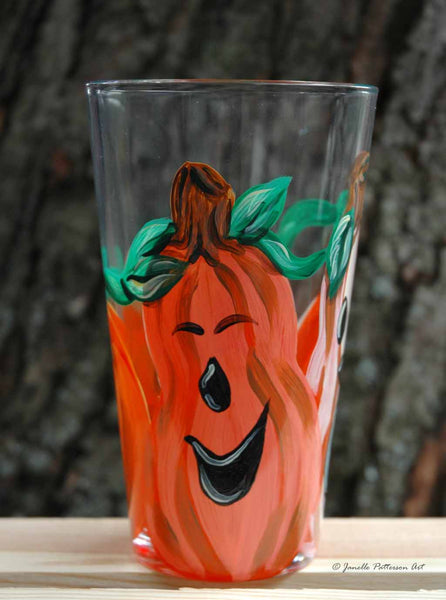 3 Pumpkins Pint Glass - Janelle Patterson Art