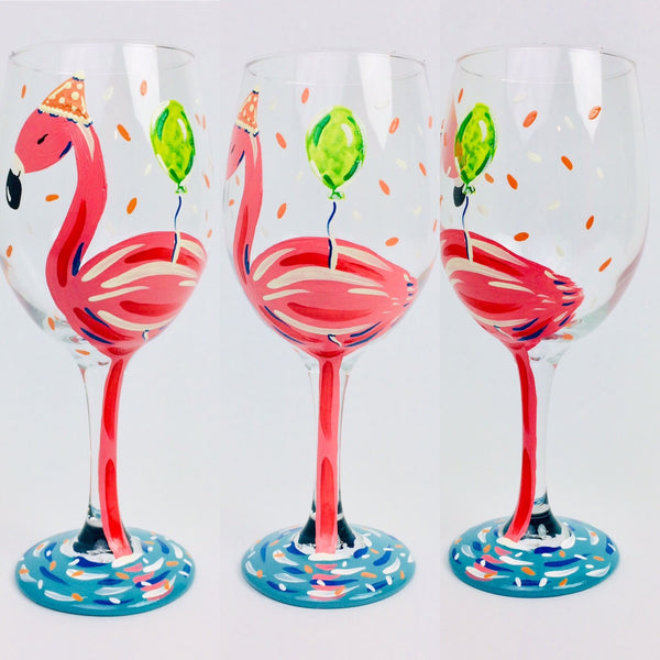 Pink Flamingo Birthday Wine Glass