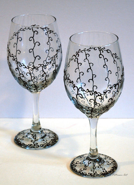 Black Lace Wine Glass - Janelle Patterson Art