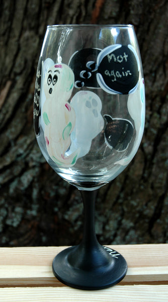 Chatting Chalkboard Ghosts Wine Glass - Janelle Patterson Art