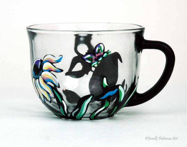 Chalkboard Butterfly Glass Mug - Janelle Patterson Art