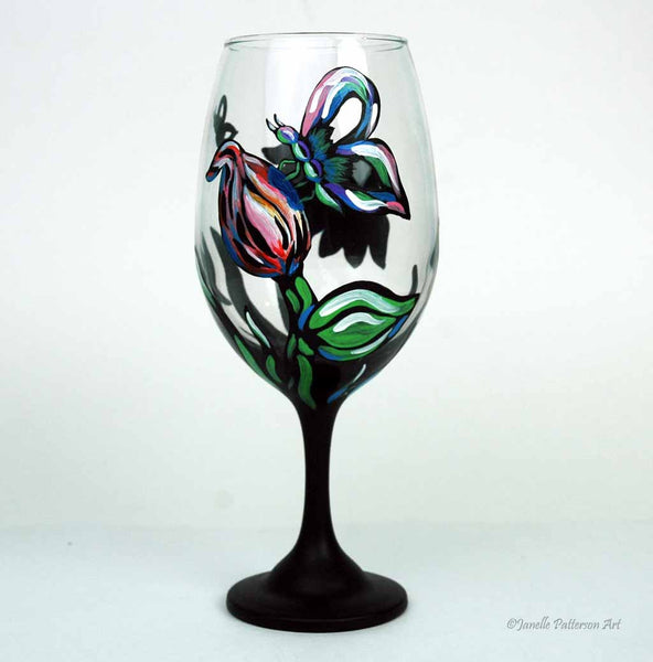 Chalkboard Butterfly Wine Glass - Janelle Patterson Art