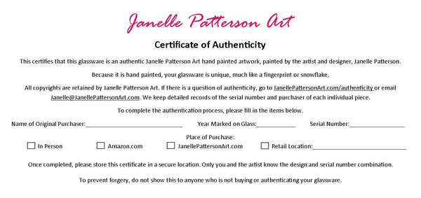 Certificate of Authenticity Order Form - Janelle Patterson Art