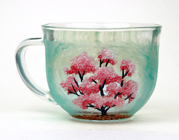 Cherry Blossom Glass Mug - Janelle Patterson Art