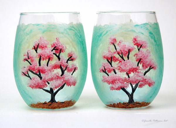Cherry Blossom Stemless Glass - Janelle Patterson Art