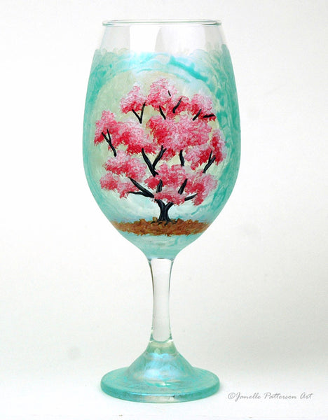 Cherry Blossom Wine Glass - Janelle Patterson Art