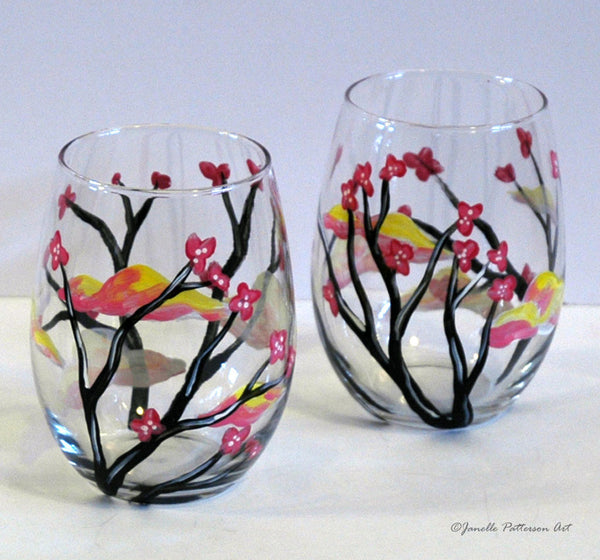 Clouds and Blossoms Stemless Glass - Janelle Patterson Art