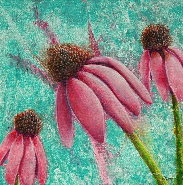 Coneflowers Original Painting - Janelle Patterson Art