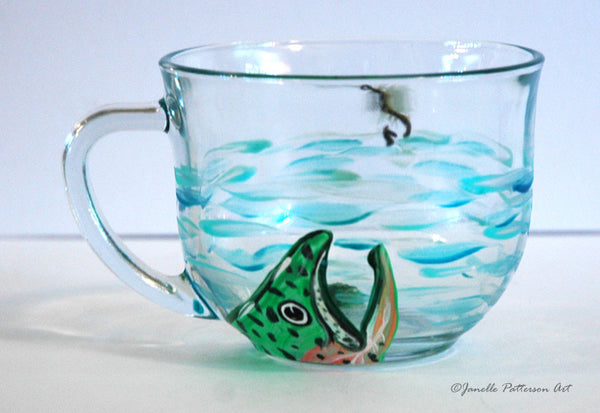 Fly Fishing Glass Mug - Janelle Patterson Art